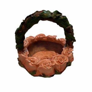 Small Ceramic Basket Pink Roses Pearls Green